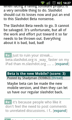 Screenshot avantslash comments page