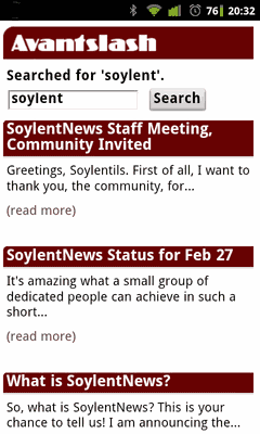 Screenshot SoylentNews search page